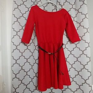 Dresses & Skirts - Red half sleeve fit and flare dress